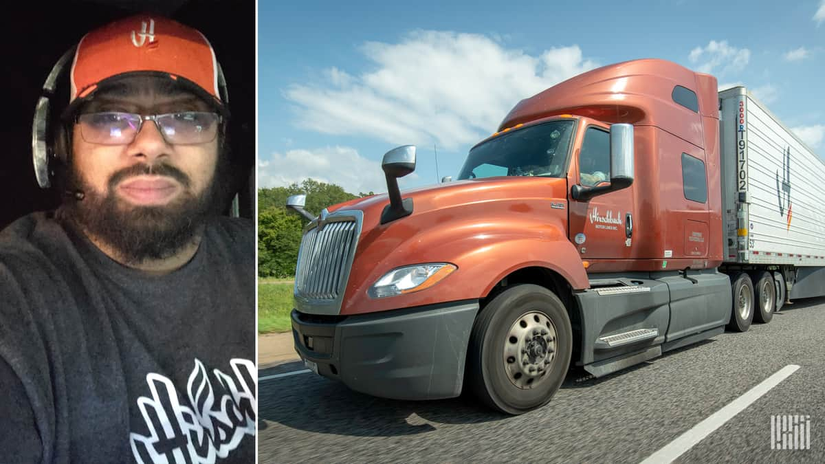Composite photo of driver Demetrius Fields and a Hirschbach Motor Lines truck.