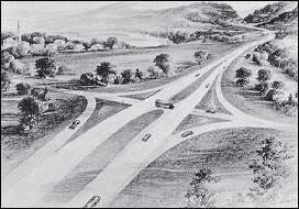 An artist's conception of an interstate highway with at-grade crossings on a four-lane highway designed in conformity with the standards approved in 1945.  (Image: Federal Highway Administration)