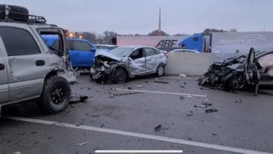 Pileup on Interstate 35 in Fort Worth, Texas on Feb. 11, 2021.