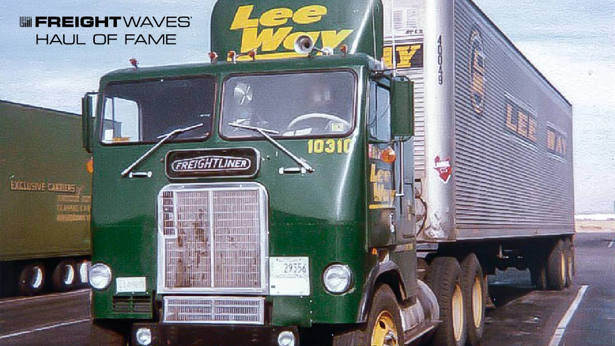 A Lee Way Motor Freight truck in dark green paint. (Photo: Gary Morton Collection)