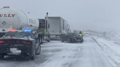 Wreck on Interstate 80 in Iowa during snowstorm on Feb. 4, 2021.