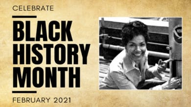 Picture of late meteorologist June Bacon-Bercer on a Black History Month banner.