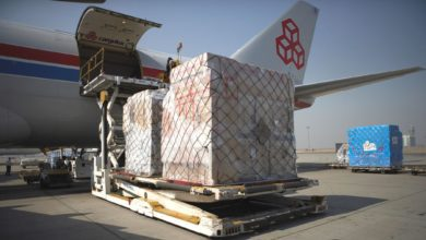 A pallet of cargo on a lift waiting to get raised to the door of a cargo plane on a sunny day.