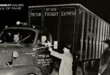 A vintage photo of a Motor Freight Express truck.