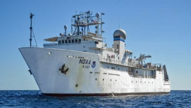 NOAA Ship Okeanos Explorer during a mission in the Gulf of Mexico.