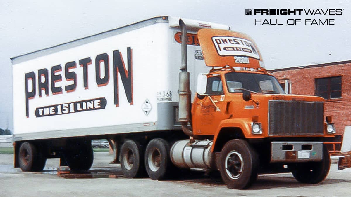 """A Preston Trucking Co. truck displays its """"The 151 Line"""" motto. (Photo: Gary Morton Collection)"""