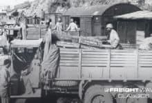 Red Ball Express trucks being unloaded into a train. (Photo: First Army Museum)