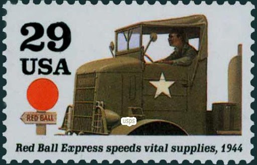 The Red Ball Express commemorative stamp issued by the U.S. Postal Service