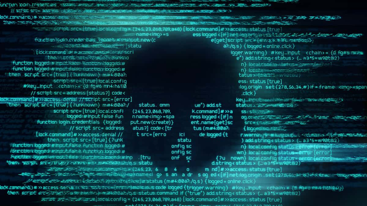 Malicious computer programming code in the shape of a skull to illustrate a ransomware attack that exposed data on Hyundai logistics operations.