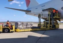 Large dolly delivers pallets to side of plane for tail loading.