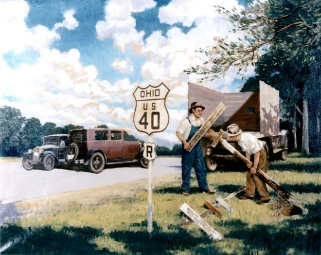 A painting depicting the changing of signs on U.S. 40 in Ohio. (Image: Federal Highway Administration)