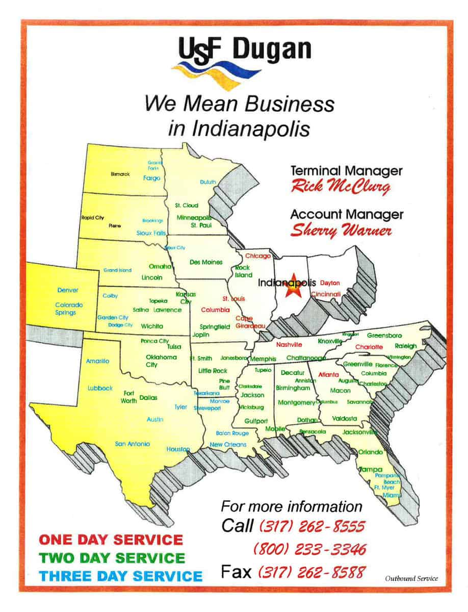 This advertisement for USF Dugan shows part of its LTL footprint.