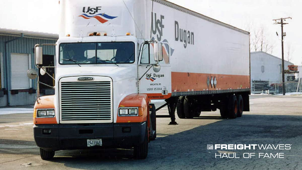A USF Dugan tractor-trailer. (Photo: Stanley Houghton Collection)