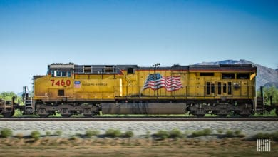 A photograph of a Union Pacific locomotive.