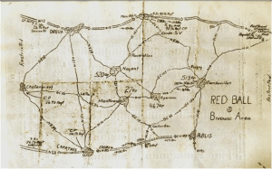 A hand-drawn map of the Red Ball Express route. (Image courtesy of National World War II Museum)