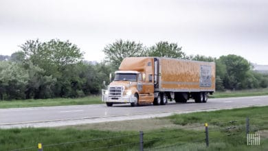 A tractor-trailer of Skelton Truck Lines. Most of the company is being solid at a premium price because of the COVID-19 vaccine rollout.
