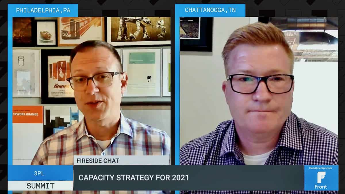 A screen capture of a video chat between David Broering, NFI's president of non-asset solutions, (left) and Mark Ford, BlueGrace Logistics' chief operating officer, discuss how carrier capacity strategies during FreightWaves 3PL Summit.