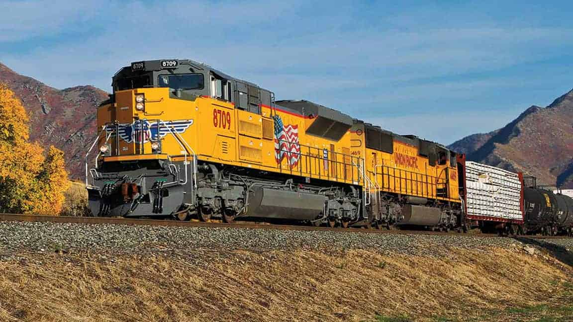 Two Union Pacific locomotives pull a train behind them. (Photo: Union Pacific Railroad)