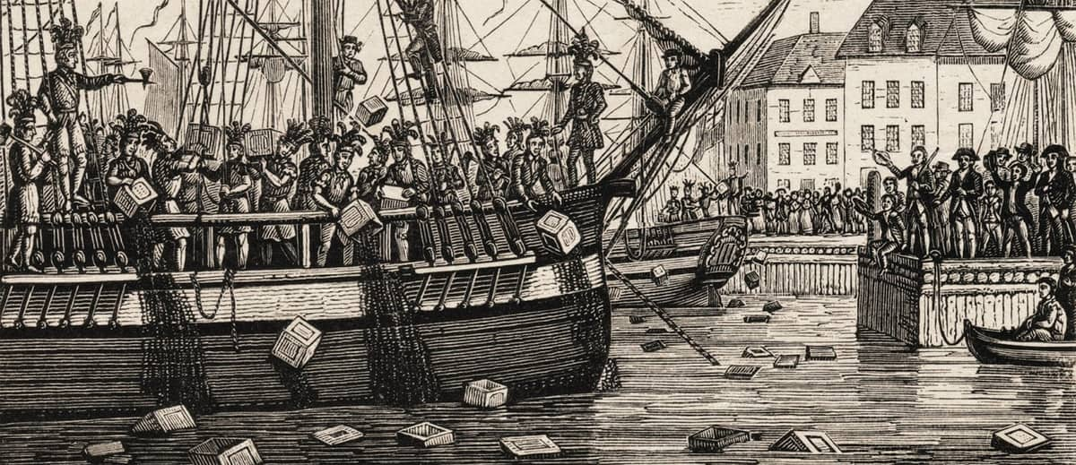 """A drawing of the Boston Tea Party from a """"newspaper of the day."""" (Image: Massmoments.org)"""