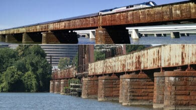 A composite image featuring two photographs. Both are of a train crossing a rusted bridge.