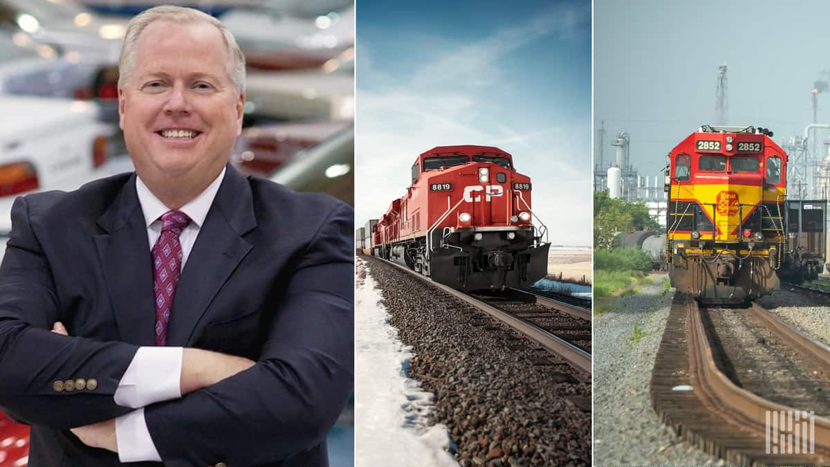 A composite image consisting of a three photos. On the left is a man, and in the middle is a Canadian Pacific locomotive and on the right is a Kansas City Southern locomotive.