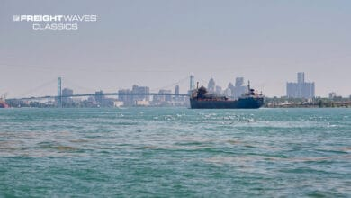 A ship traverses the Detroit River on its way to the Port of Detroit. (Photo: Port of Detroit)