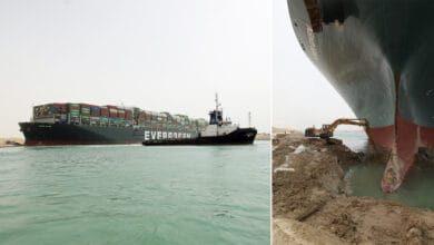 Evergreen Marine container ship stuck in Suez Canal.