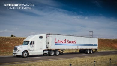 A Land Span tractor-trailer on the road in better days. (Photo: Jim Allen/FreightWaves)