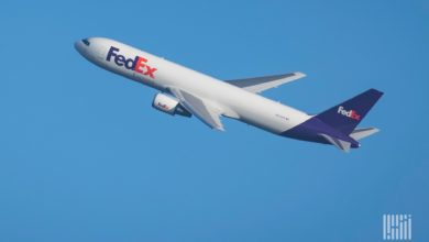 A white FedEx cargo jet with blue tail climbing through a bright blue sky.