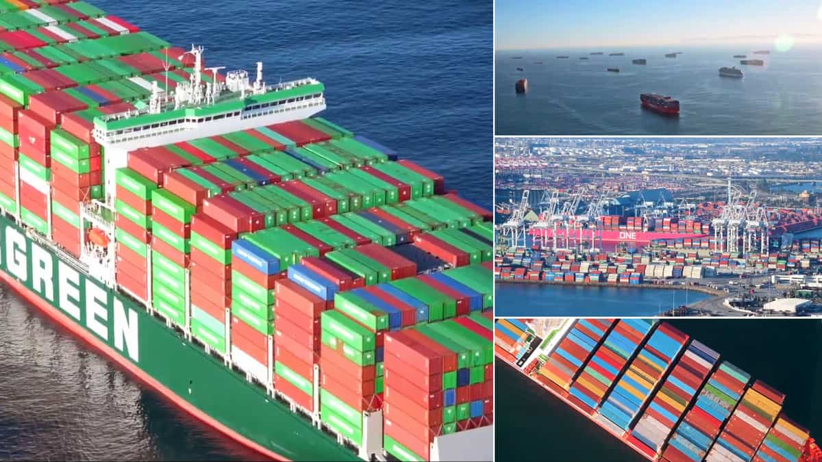 Ocean container vessel and port terminals.