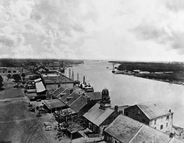 An 1864 photo of Savannah's Bay Street and the Savannah River. At that time, this was the Port of Savannah. (Photo from online article by Georgia Globe Design News)