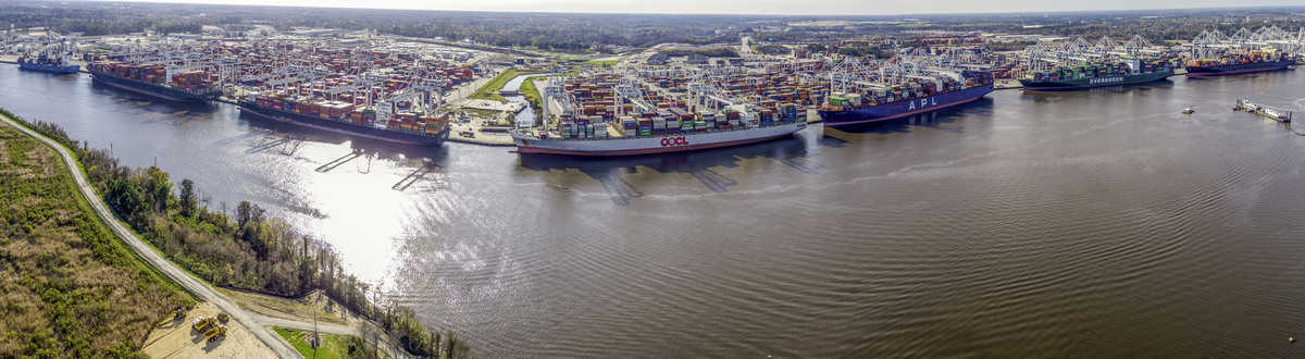 The Port of Savannah's 30 cranes work seven vessels simultaneously along Garden City Terminal's 10,000-foot dock. (Georgia Ports Authority/Jeremy Polston)