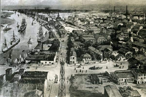 In this illustration, ships can be seen at Savannah's Bay Street wharves and anchored in the Savannah River. (Image from an online article by Georgia Globe Design News)