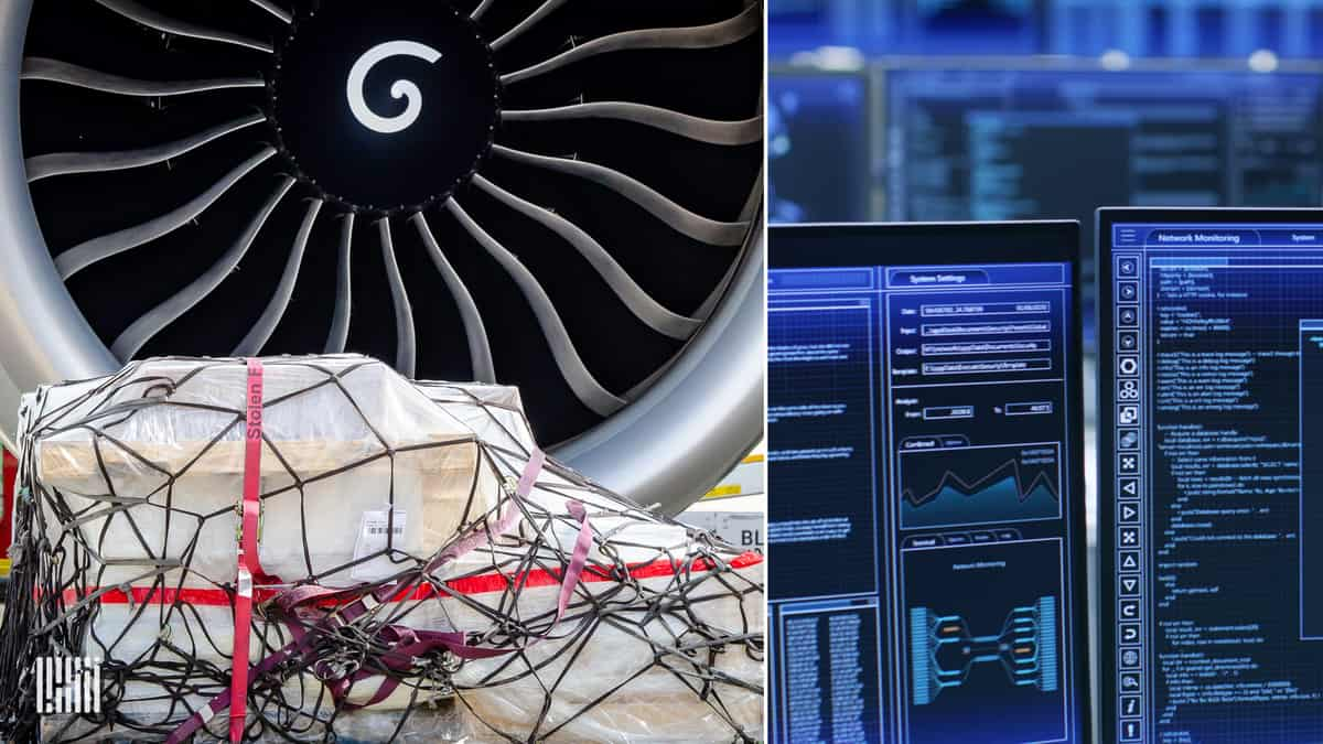 Split screen, with cargo pallet in front of a big jet engine of plane and blue screen of a big computer on the right to show digital freight transactions.