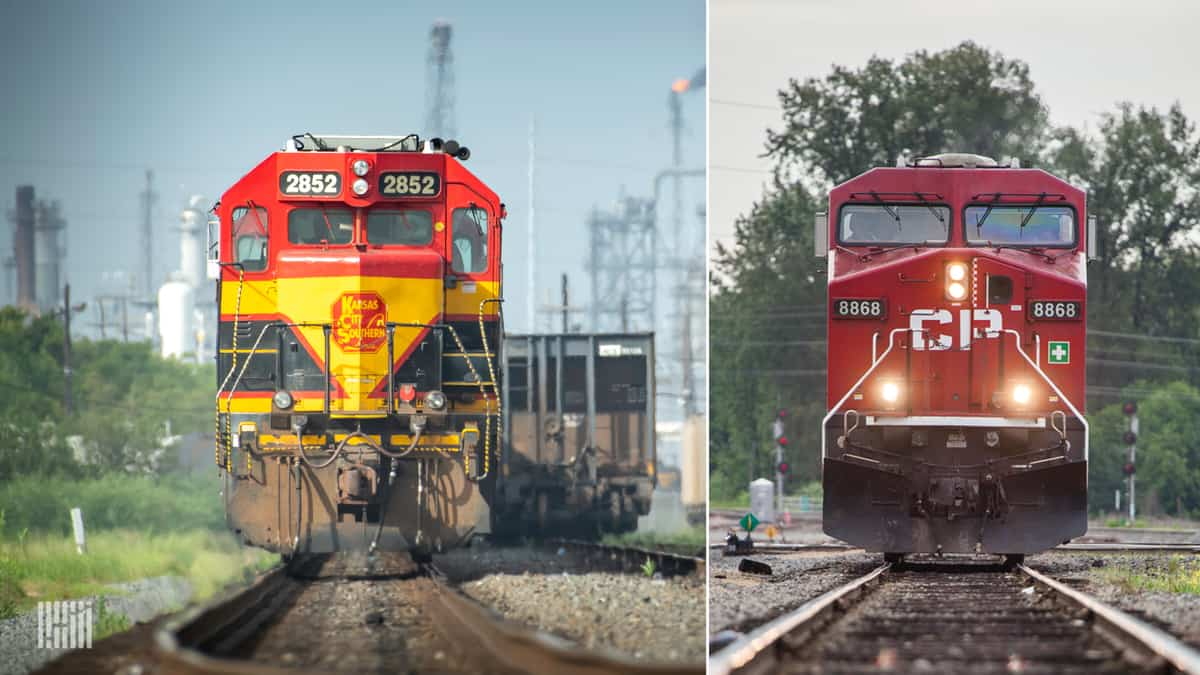 A composite image consisting of two photographs. On the left is a Kansas City Southern locomotive and on the right is a Canadian Pacific locomotive.