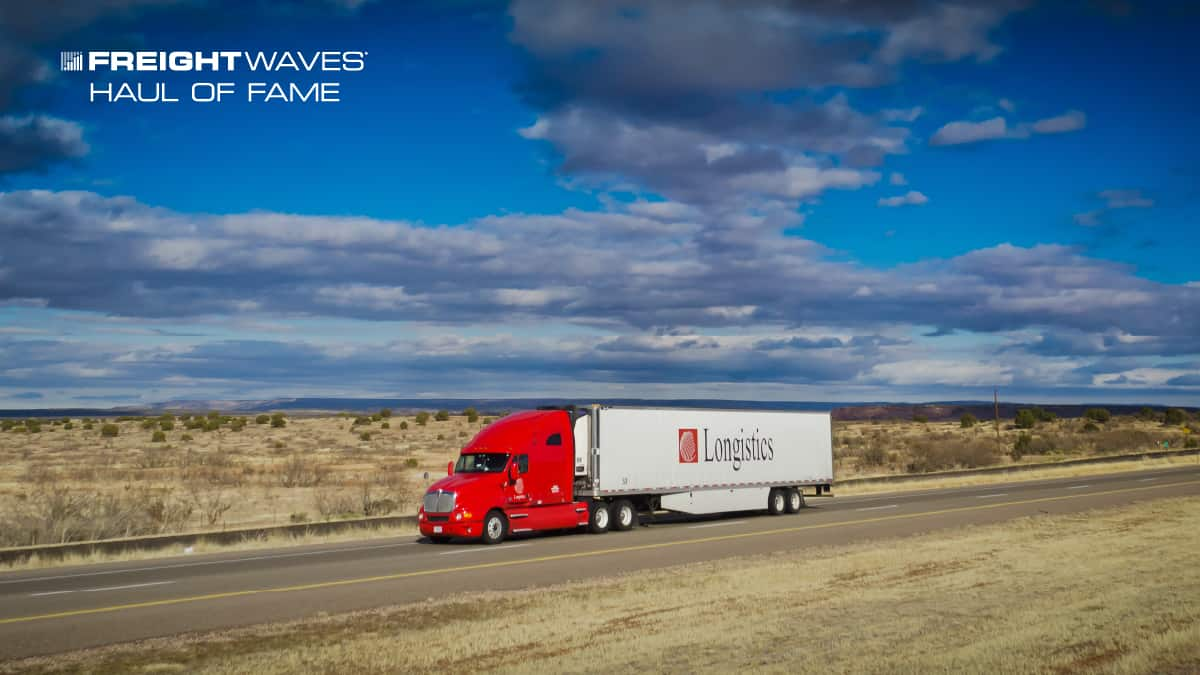 A Longistics tractor-trailer on the way to deliver a load. (Photo: Jim Allen/FreightWaves)