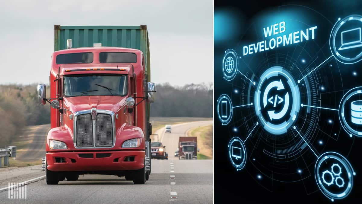 Red truck on right; web development code on right