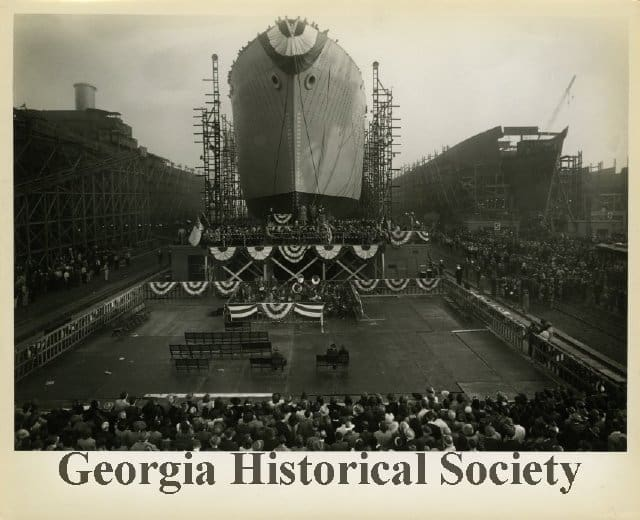 A Liberty ship being launched near the Port of Savannah. (Photo: Georgia Historical Society)