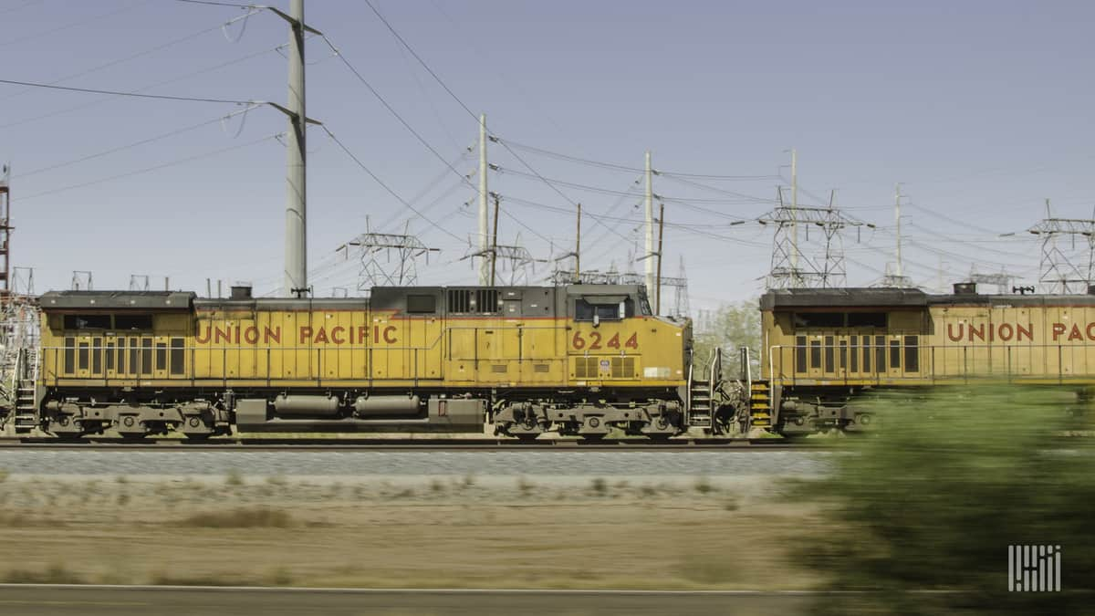 A photograph of Union Pacific locomotives.