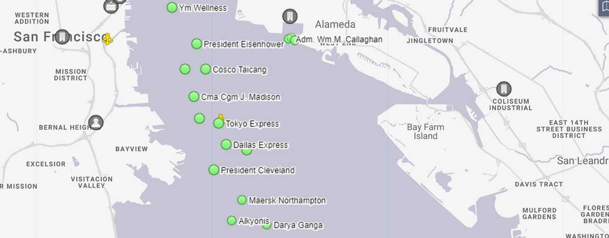 container ships map