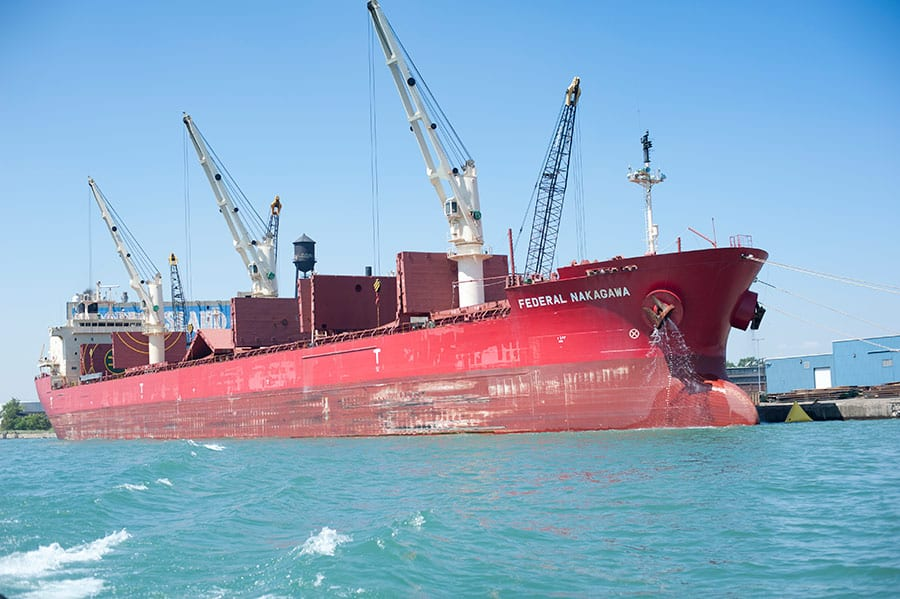 A docked ship has its hatches open at the Port of Detroit. (Photo: Port of Detroit)