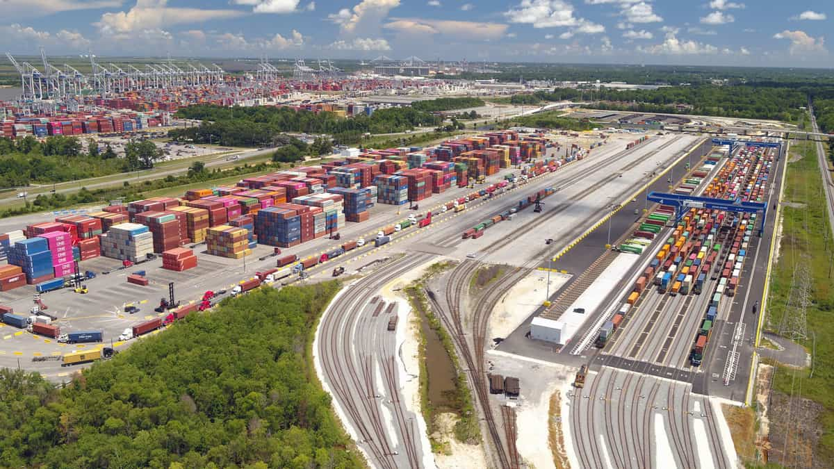 A photograph of a container terminal.