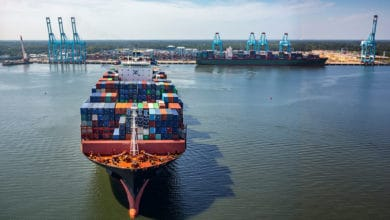 A large container ship arrives at the Port of Virginia.
