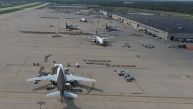 Aerial photo of UPS planes at Rockford Airport near Chicago.