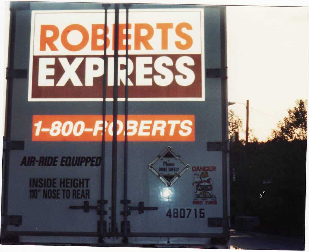 The back of a Roberts Express truck; the view most often seen as they moved critical freight.  (Photo from a public forum on Expeditorsonline.com)