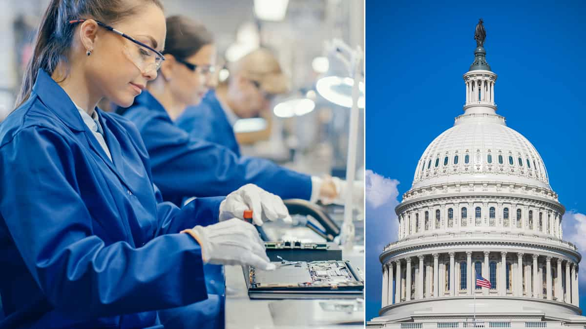 A split shot of people making delicate products on assembly line and U.S. Capitol on right.