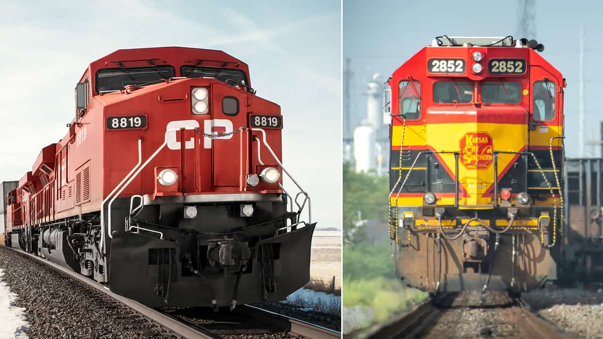 A composite image of two train locomotives. On the left is CP and on the right is KCS.