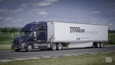 A tractor-trailer of Canadian trucking company Titanium Transportation Group. The company reported record fourth quarter results.