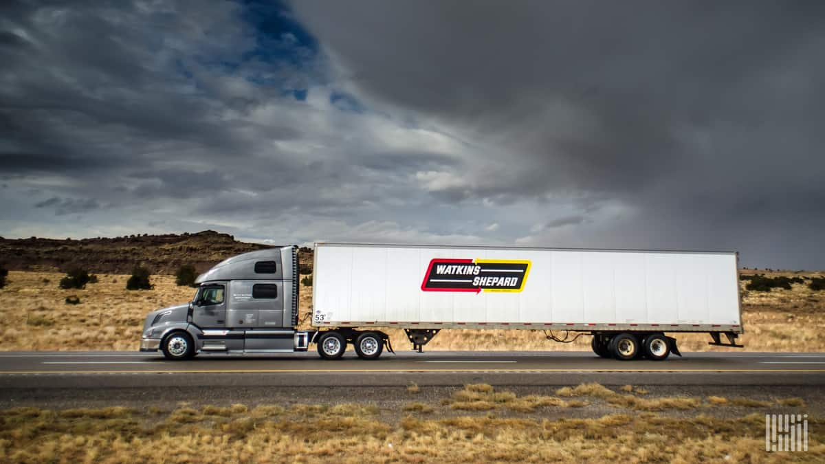 A Watkins & Shephard tractor-trailer on the road. (Photo: Jim Allen/FreightWaves)
