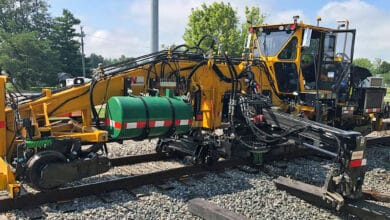 A photograph of Nordco's maintenance of way equipment.